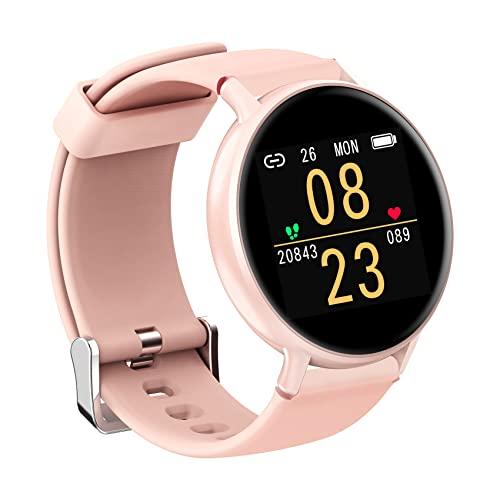 IOWODO Smartwatch Hombre Mujer Con Esfera Personalizada, Reloj Inteligente Impermeable Con Notificación de Mensajes, Monitor de Sueño,Podómetro,Calorías, Pulsera Actividad Inteligente Para IOS Android