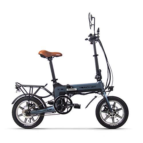 Rich Bit Electric Bicicletta Ebike Pieghevole in Bicicletta RT-619 36v 250w 10.2Ah Batteria al Litio in Lega Leggera in Alluminio Leggera direzione Disco Freno (Grigio)