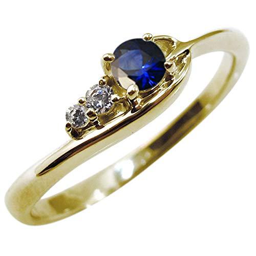 [プレジュール]サファイヤリング 指輪 レディース シンプル K18イエローゴールド リング リングサイズ11号
