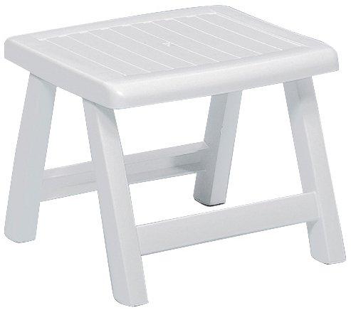 Kettler Hocker Roma – stabiler Gartenhocker für Relaxstuhl und Gartenliege – aus wetterfestem und UV-beständigem Kunststoff – perfekt als Sitzhocker oder Beistelltisch auf Terrasse und Balkon – weiß