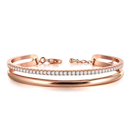 THEHORAE Bracelet Or Rose Femme,Bracelet réglable avec Charme pour Femme la fête des mères
