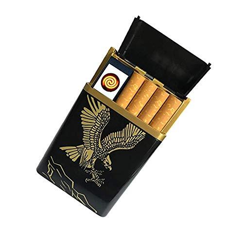 Mauel Zigarettenetui mit Feuerzeug 2-in-1 Aluminium Zigarettenbox Elektronisches Integriertem Flammenlose Feuerzeug Aufladbar Zigarettendose,für Geschäftsmann, Gentleman, Lady,Eagle