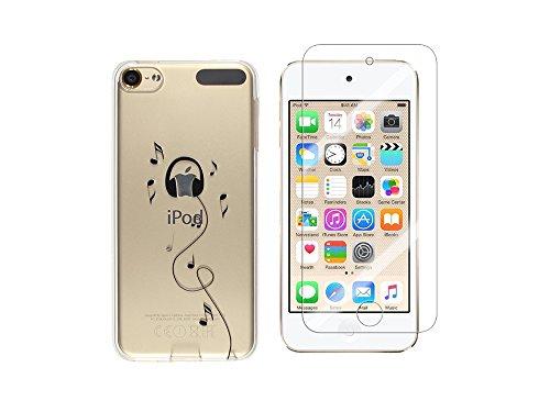 NOVAGO Compatibile con iPod Touch 7, Touch 6, Touch 5, Cover in Gel Stampata, Solida e Resistente + 1 Vetro in Vetro temperato Trasparente (Cuffie)