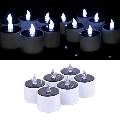 FORNORM 6 Stück Solar Kerzen Teelichter, Realistische Flammenlose Kerzen Außen Solarkerzen Kerzenlicht Lampe wasserdichte Kerzen Teelichtkerzen für Hochzeitsdekoration, Kühles Weiß Licht