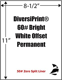 "Spinnaker Coating DiversiPrint Bright White Offset 60# Adhesive Paper, 0-Split No Print, 8-1/2"" x 11"", 1,000 Sheets"