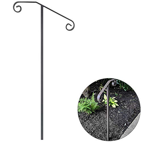 VEVOR Single Post Handrail Wrought Iron Post Mount Step Grab Supports in Ground Long Post Fits 1 or 2 Steps Grab Rail Single Post Railing