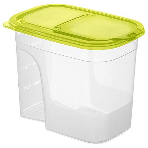 Rotho Sunshine Vorratsdose 2,2l mit Deckel und Schütte, Kunststoff (PP) BPA-frei, transparent/grün, 2,2l (20,3 x 13,5 x 16,0 cm)