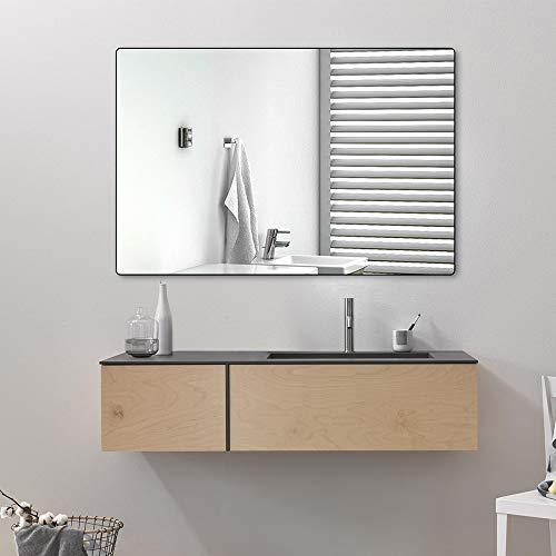 belle electrical Wall Mounted Bathroom Mirrors, 24x36 Inch Black Bathroom Mirror, Large -