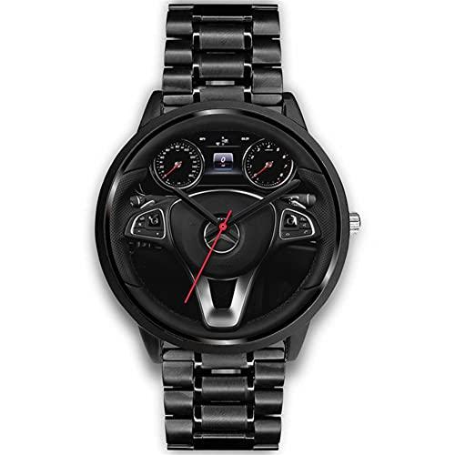 HEEYEE Reloj de dirección de Rueda de automóvil Deportivo, Relojes de Coche Reloj Deportes de Cuarzo Relojes de muñeca a Prueba de Agua Relojes de Moda para Hombres