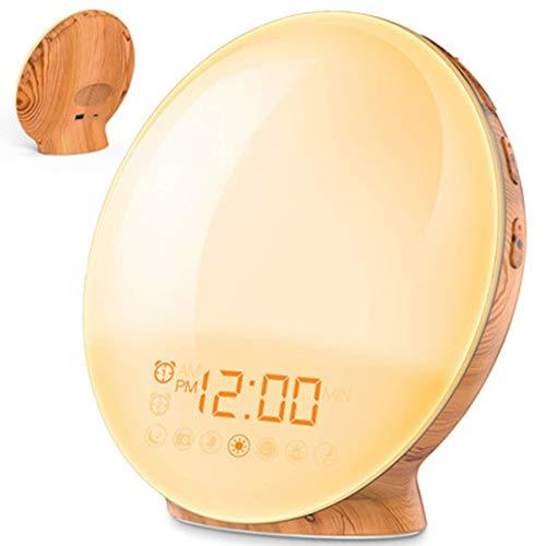 QMMCK ontwaken licht zonsopgang zonsondergang simulatie wekker & 7 kleuren sfeerverlichting tafel bedlampje met 7 natuurlijke geluiden sluimerfunctie FM-radio