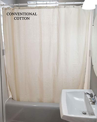 Bean Products Cotton Shower Curtain - 70' x 74'  - Natural - Also White, Hemp, Linen, Organic Cotton - Tub, Bath, Stall Sizes - Made in USA