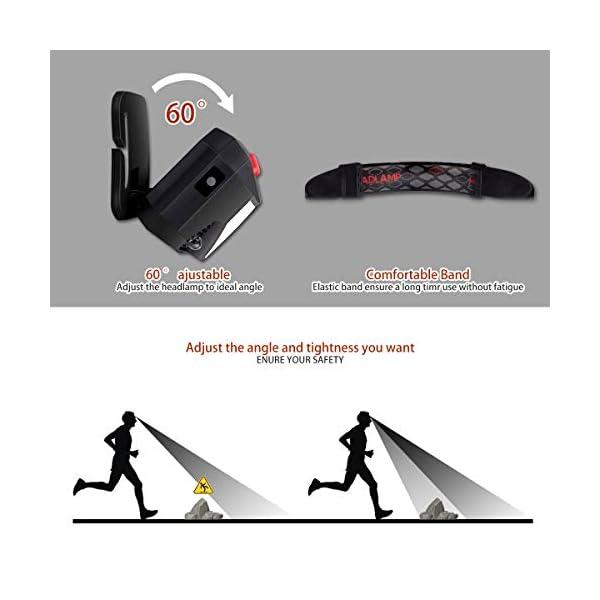 EJNOY Linterna Frontal LED USB Recargable, Linterna de Cabeza led Recargable, 8 Modos de Uso (Luz Blanca/Luz Roja/Sensor… 2
