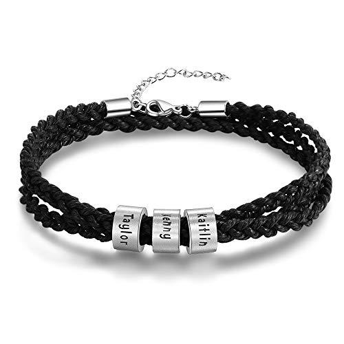 Personalisierte Armband Herren Edelstahl Lederarmband mit Namen Gravur Leder Multilayer Geflochten Armbänder Geschenk für Valentinstag Geburtstag (3 Namen - Schwarz)