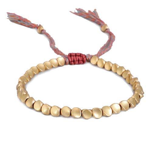 Pulsera de cuentas de cobre tibetano – GOODCHANCEK hecha a mano budista pulsera ajustable de cuerda de la suerte para mujeres y hombres