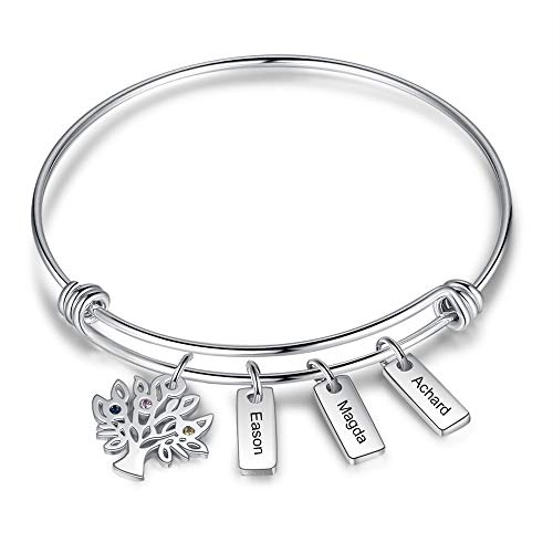 Personalised family tree bracelets for women silver personalised engraved bangle family bracelet with 2~7 names bar gifts for womens mum (3 name bar)