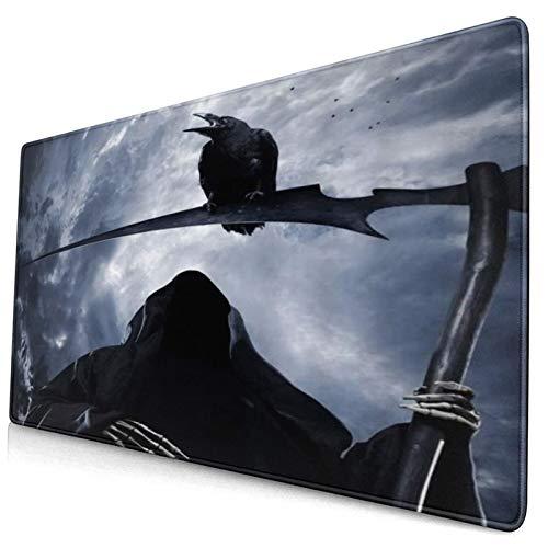 LASINSU Alfombrilla Gaming,Grim Reaper Cuervo Horror Diablo Demonio Negro,con Base de Goma Antideslizante,750×400×3mm
