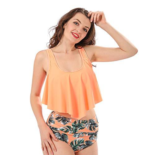SHOLOV Bikini Zweiteiliger Badeanzug Bademode Damen Sexy Oberteil Bikinihose Gepolsterte BHS Rückenfrei High Waist Perfekt für Pool Strand Urlaub Orange 2XL