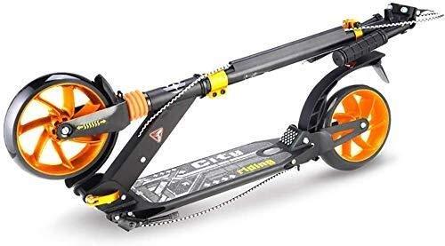 Patinete Kick Scooters Barras de motos, Scooter adultos, Vespa Ruedas, Kick Kick plegable for 130-185Cm edad, con absorción de impactos ruedas intermitente, ajustables con el freno de mano y pie, no e