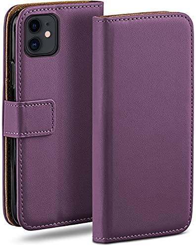 moex Klapphülle kompatibel mit iPhone 11 Hülle klappbar, Handyhülle mit Kartenfach, 360 Grad Flip Hülle, Vegan Leder Handytasche, Lila