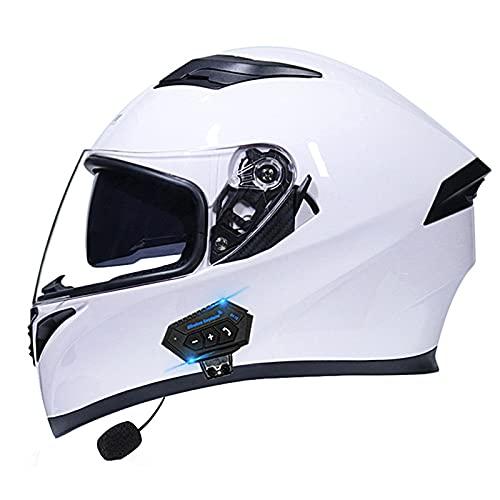 Casco de moto con Bluetooth abatible, modular con doble visera, aprobado por DOT ECE, casco modular de cara completa para hombres y mujeres adultos (color: A)