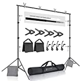 🏆The Kit Includes: [2 pcs] Male and Female Cross Bar Parts / [2 pcs] Support Stand / [4 pcs] Photo Clamp / [4 pcs] Backdrop Elastic String Clip / [2 pcs] Sand Bag / [1 pc] Carry Bag 🏆Professional Lightweight Support for Backdrops, Aluminum Alloy Cons...