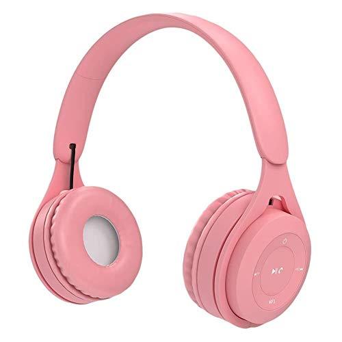 QCSMegy Bluetooth For Auriculares, Montado En La Cabeza For Auriculares Estéreo De Alta Fidelidad Auricular Inalámbrico Macaron Largo De Auriculares con Micrófono De Oído (Color : Pink)