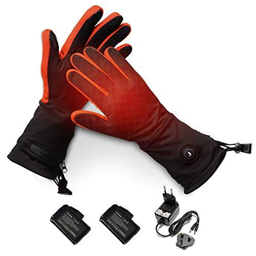 J JINPEI Beheizte Handschuhe Innen für Herren und Damen, Beheizbare Handschuhe 7.4V 2200 mAh Batterien mit 3 Stufen Temperaturregler für Winterski, Angeln, Eislaufen, Jagd, Wandern (Orange, L)