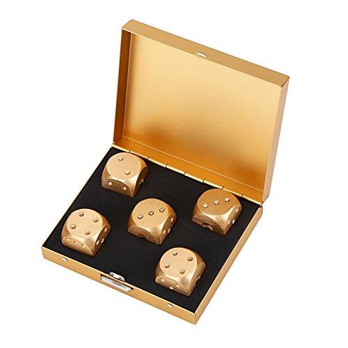 Dioche Würfel Box Set mit, Metallgehäuse 6 seitige Würfel, Aluminiumlegierungs Tragbare Würfel mit, 5pcs Spielwürfel Stellten mit, zum Trinken Party Game