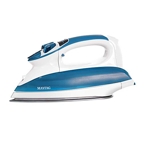 Maytag Digital Smart Fill Steam Iron & Vertical Steamer with Pearl Ceramic Sole Plate, Removable Water Tank + Thermostat Dial, White/Blue, M1400