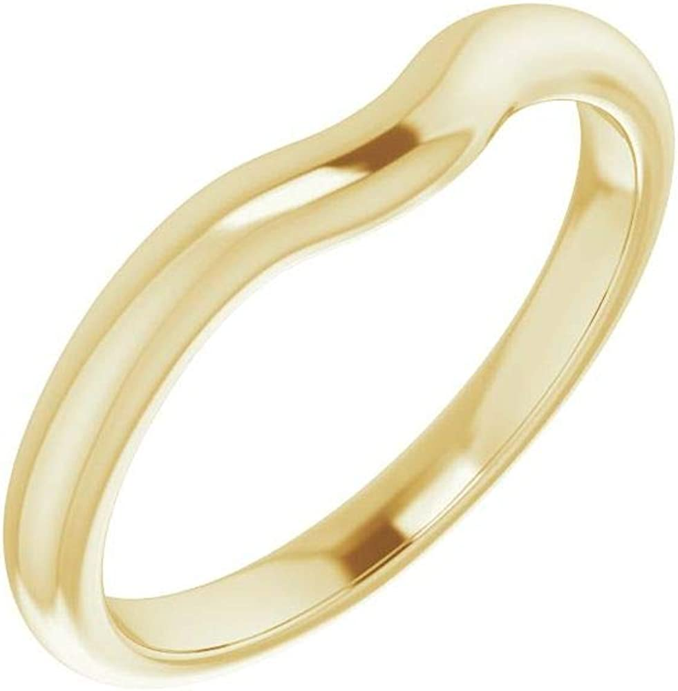 Solid 18K Yellow Gold Curved Notched Wedding Band for 5x3mm Pear Ring Guard Enhancer - Size 7