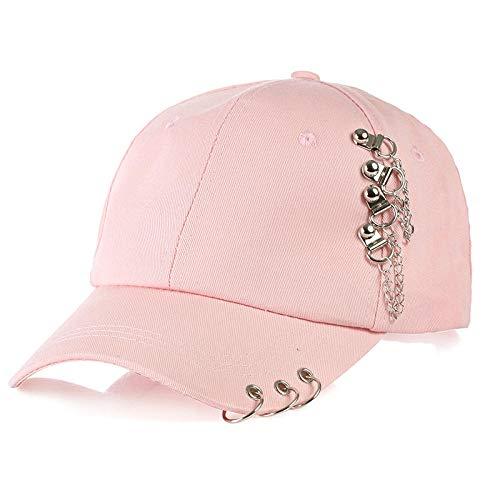 Bone Hats Gorra Bordada con Anillo Hombres y Mujeres Wild Bend Along Cotton Soft Top Visera Simple Girl Gorras de béisbol-Rosa