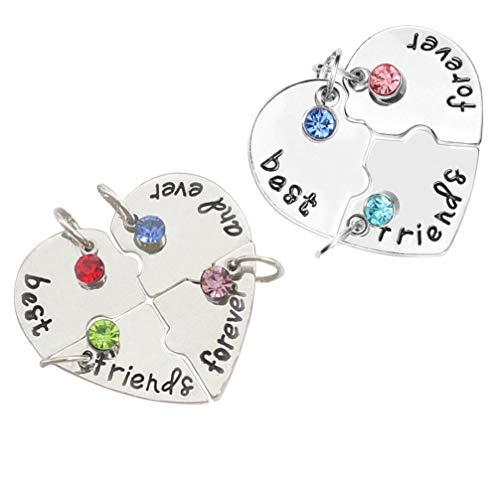 Toddmomy Mejores Amigos para Siempre Y Siempre Collar con Cristal Roto Corazón Colgante Conjunto Amistad Colgante Rompecabezas Pieza Collar para Cumpleaños de Graduación 2 Conjuntos