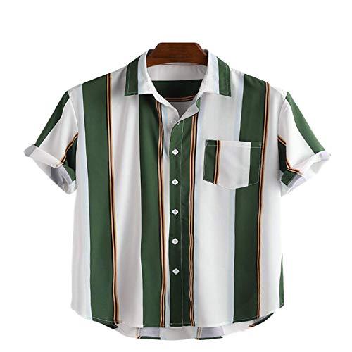 Camisa de Manga Corta con Costuras a Rayas para Hombre, Camisa Informal con Bolsillos con Costuras básicas y sencillez de Moda L