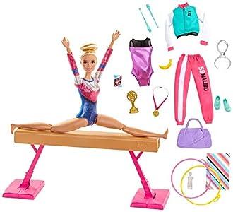 Barbie Olimpíadas, muñeca gimnasta, barra de equilibrios de juguete y más de 15 accesorios (Mattel GJM72)
