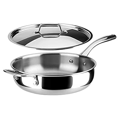 Duxtop Whole-Clad Tri-Ply Stainless Steel Saute Pan with Lid, 3 Quart, Kitchen Induction Cookware