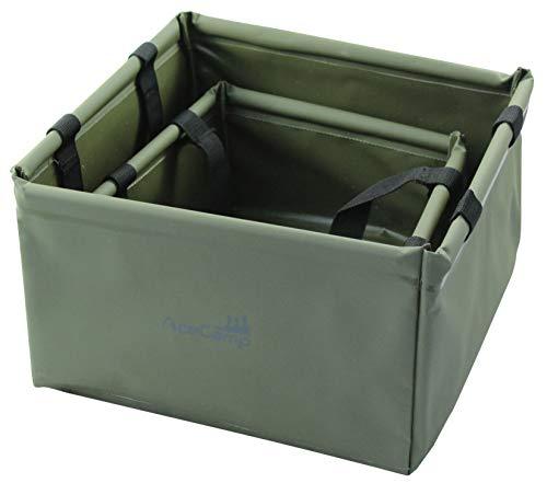 AceCamp Set 5 + 10 Liter Outdoor Faltschüssel, Doppelpack Set Faltbare Camping Waschschüssel aus langlebigem Vinyl, Platzsparend und Leicht, Grün