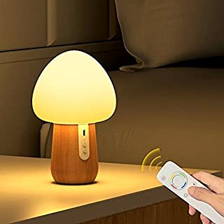 Baby Night Light, MEGACRA LED Wooden USB Rechargeable Night Lights for Kids, Nursery Lamp with Warm White and 4-Color for Kids, Baby, Children