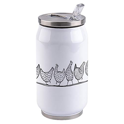 Water Bottle | Vacuum Insulated Stainless Steel Water Bottle 10oz | Farm Poultry Rooster Ink Painting | Double Walled Water Bottles | Wide Mouth with Straw Lid | Leak Proof Flip-Top