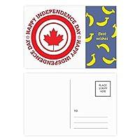 canandaカエデの葉と独立性 バナナのポストカードセットサンクスカード郵送側20個