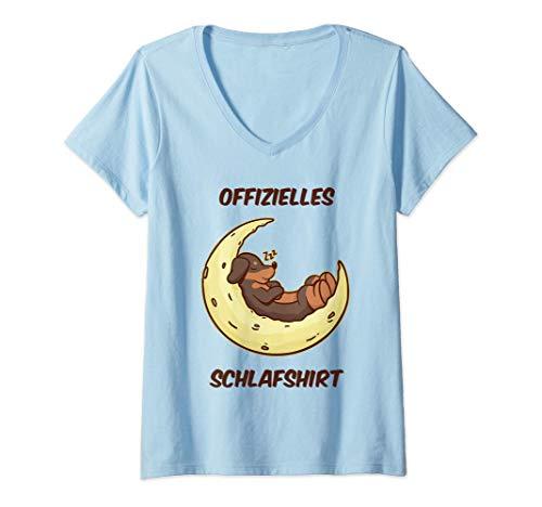 Damen Hund Hunde Mond Pyjama Schlafanzug Nachthemd Oberteil Damen T-Shirt mit V-Ausschnitt
