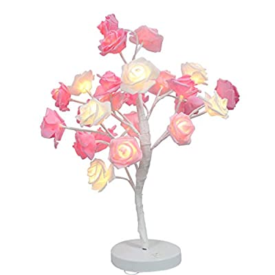Pstars Crystal Flower Bonsai Tree 36 LED Light, Rose Blossom Tree Lights Table Lamp 19.7 Inch Christmas Home Artificial Decoration Light for Bedroom/Party/Wedding/Office/Home