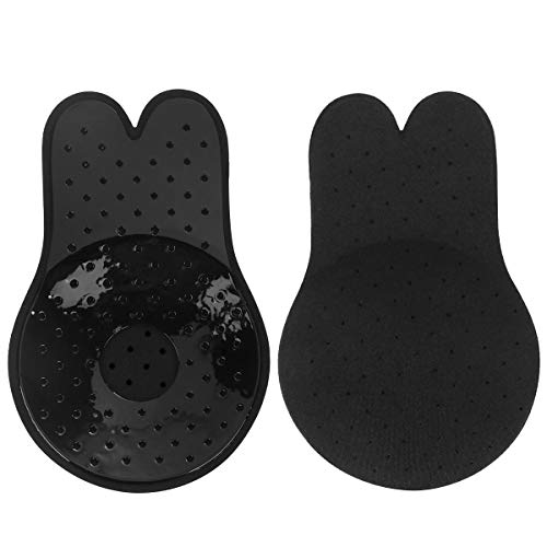 Adhesive Bra, Push up Strapless Backless Sticky Bras, Invisible Reusable Nippleless Covers Pasties (Black, C/D Cup)