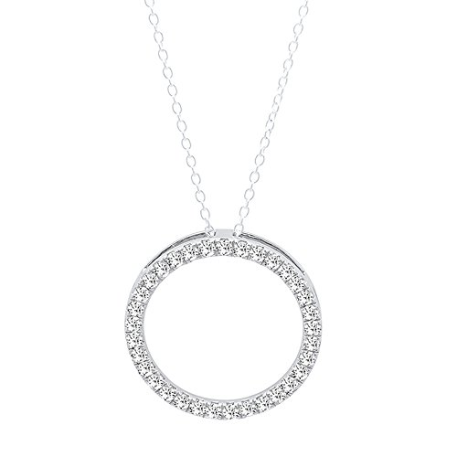 0.25 Carat (ctw) Round White Diamond Circle Pendant 1/4 CT (Silver Chain Included), 14K White Gold (0.25 Ct Diamond Necklace)