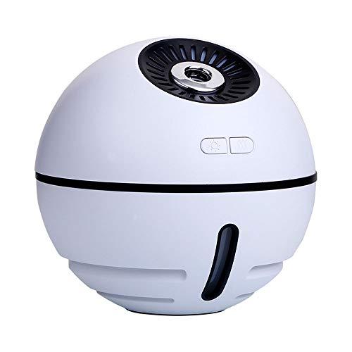 Bevochtiger Cartoon Space Ball Gift, ≤30db Noise Reduction Design, Zuiverende Lucht, Capaciteit 90ml, Met Usb Kleine Ventilator + Licht, wit
