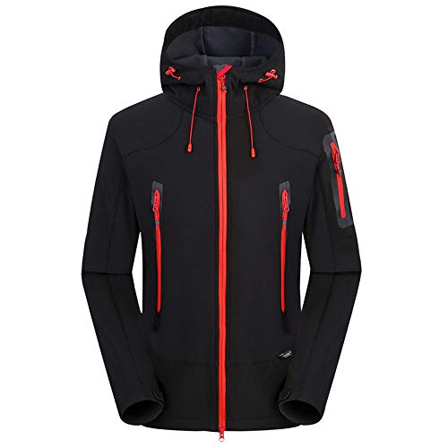 Der neue Softshell-Pullover der Männer hat einen wasserdichten und atmungsaktiven Mantel Einlagige wasserdichte atmungsaktive Herrenjacke Windjacke Freizeitjacke Sportliche Parka(schwarz,XL)