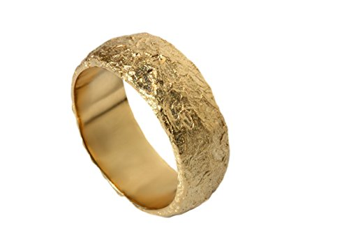 Wide Organic textured wedding band for men and women 14k 18k solid gold ring DINAR jewelry WB116