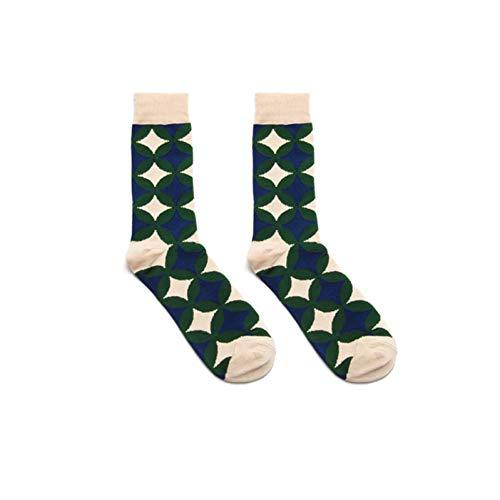 DYCZWZ 3 Pares Deportes Ocio Calcetines Calcetines Hombres Color del Viento Rayas A Cuadros Patrón Geométrico Calcetines Divertidos Algodón Largo Calcetines Felices