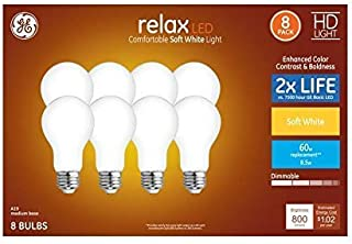 GE Relax 8-Pack 60 W Equivalent Dimmable Warm White A19 LED Light Fixture Light Bulbs