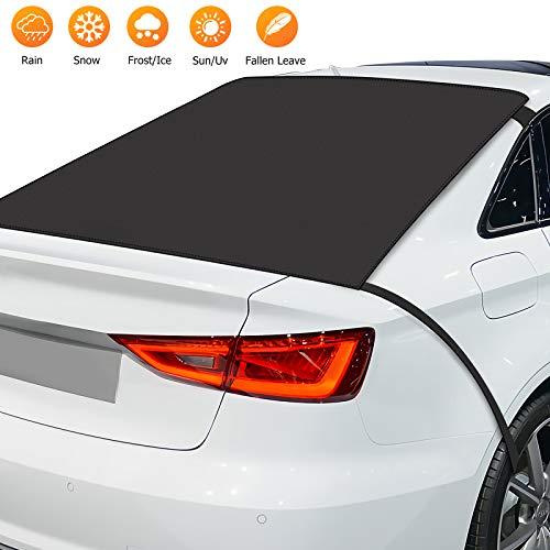 Botokon Car Rear Windshield Snow Ice Cover Protector with Straps and Magnetic Edges, Rear Windscreen Snow Cover, Sun Shade Protector, Frost Protection and Anti-Icing for Most Cars, SUV and Vans