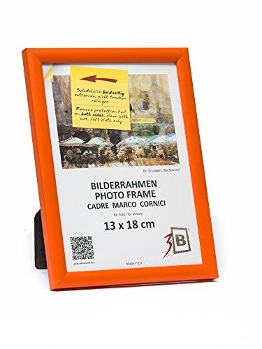 3B Marco de Fotos ULM 13x18 cm - Naranja - Marco de Madera, Foto, parojo y sobremesa con Vidrio de poliéster (lámina de plástico)